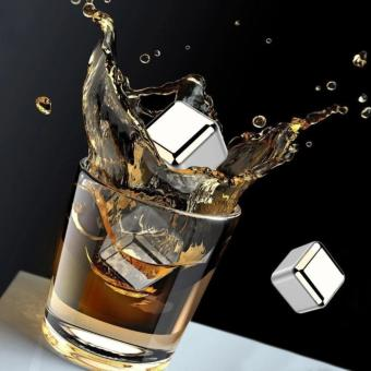 4 Pcs Cooling Ice Cubes Food Grade Stainless Steel Reusable WineCooling Cubes with Freezing Tray, Whiskey Chilling Rocks, WhiskyIce Stones and Sipping Stones - 2