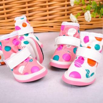 4 Pcs Dog Boots Rubber Water Protective Shoes color:White size:2 -intl