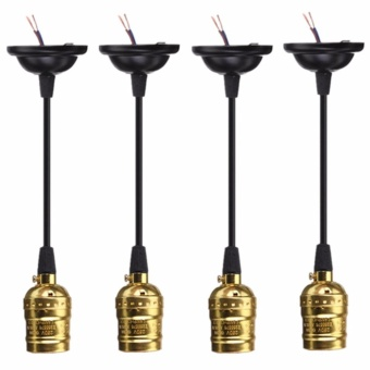 4 PCS E27 Socket Screw Bulbs Edison Retro Pendant Lamp Holder WithWire Without Switch 110-220V (Golden) - intl