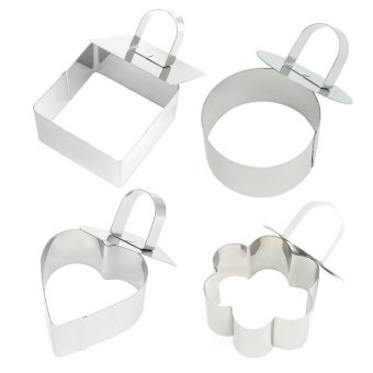 4 PCS Mini Stainless Steel Round Heart Flower Square Shaped MousseCake Ring Mold Slicer Cookie Cutter DIY Baking Tools with PushPiece