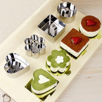 4 Pcs/ Set Stainless Steel Cake Ring Dessert Mousse Mold with Pusher & Lifter Cooking Rings - intl