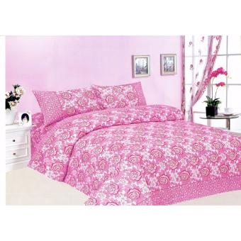 4-Piece Queen Size Bedding with Luxury Cotton Feel- Pink RosesSeries by Manhattan Homemaker