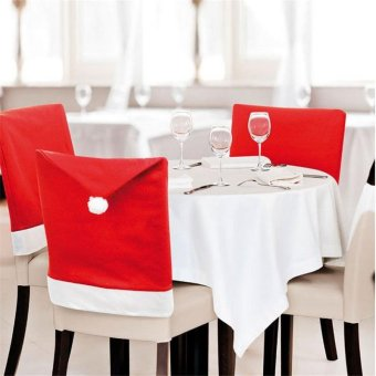 4 Santa Red Hat Chair Back Covers Christmas Xmas Dinner Table Party Decor Gift - intl