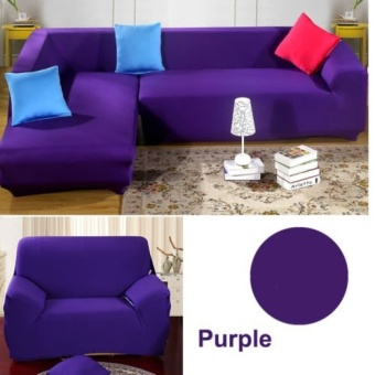 4 Seater L Shape Loveseat Chair Stretch Sofa Couch Protect Cover Slipcover Purple