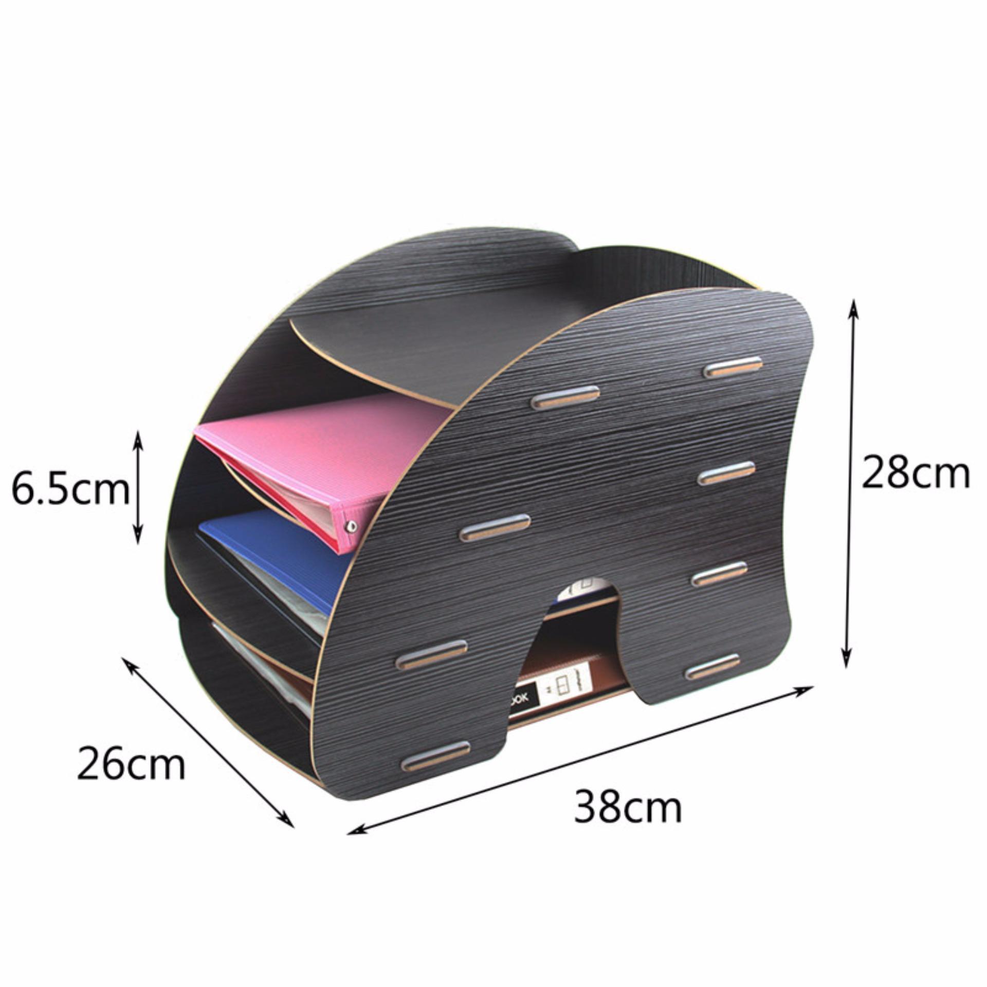 4 Tier Detachable Wooden Grain Design Desk A4 File Letter Storagetray Desktop Cabinet Box Case Office