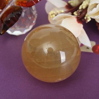 40mm Yellow Citrine Calcite Quartz Crystal Sphere Ball Healing Gemstone Decor - intl - 4