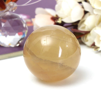 40mm Yellow Citrine Calcite Quartz Crystal Sphere Ball Healing Gemstone Decor - intl - 2