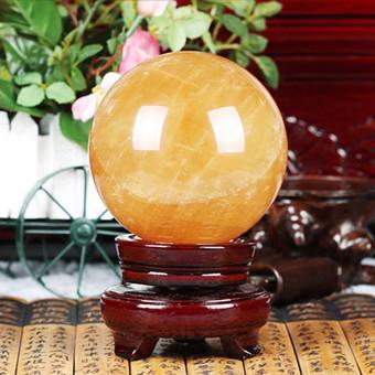 40mm Yellow Citrine Calcite Quartz Crystal Sphere Ball Healing Gemstone Decor - intl - 5