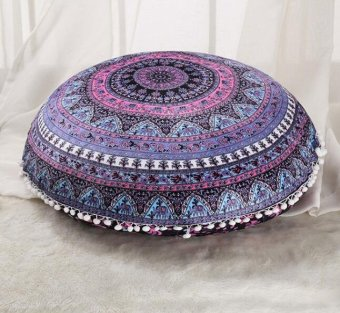 45 x 45cm Round Mandala Floor Pillows Round Bohemian MeditationCushion Cover Ottoman Pouf cover case, Pom Pom Pillow Cases,Outdoor Cushion Cover X3 - intl