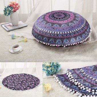 45 x 45cm Round Mandala Floor Pillows Round Bohemian MeditationCushion Cover Ottoman Pouf cover case, Pom Pom Pillow Cases,Outdoor Cushion Cover X3 - intl - 5