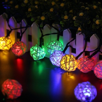 4.8M Solar Powered Rattan Ball LED String Lights, 20 LED 15.7ft Multicolor Globe Fairy Lantern Lamp, Christmas Home Holiday Party Yard Garden Outdoor Solar Powered String Lights for Decoration - intl