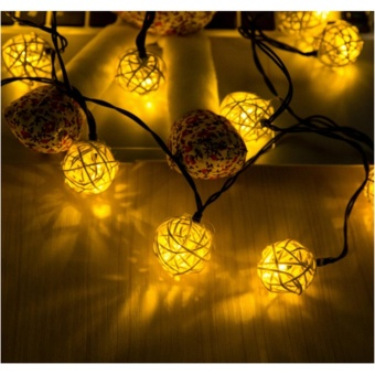 4.8M Solar Powered Rattan Ball LED String Lights, 20 LED 15.7ft Warm White Globe Fairy Lantern Lamp, Christmas Home Holiday Party Yard Garden Outdoor Solar Powered String Lights for Decoration - intl