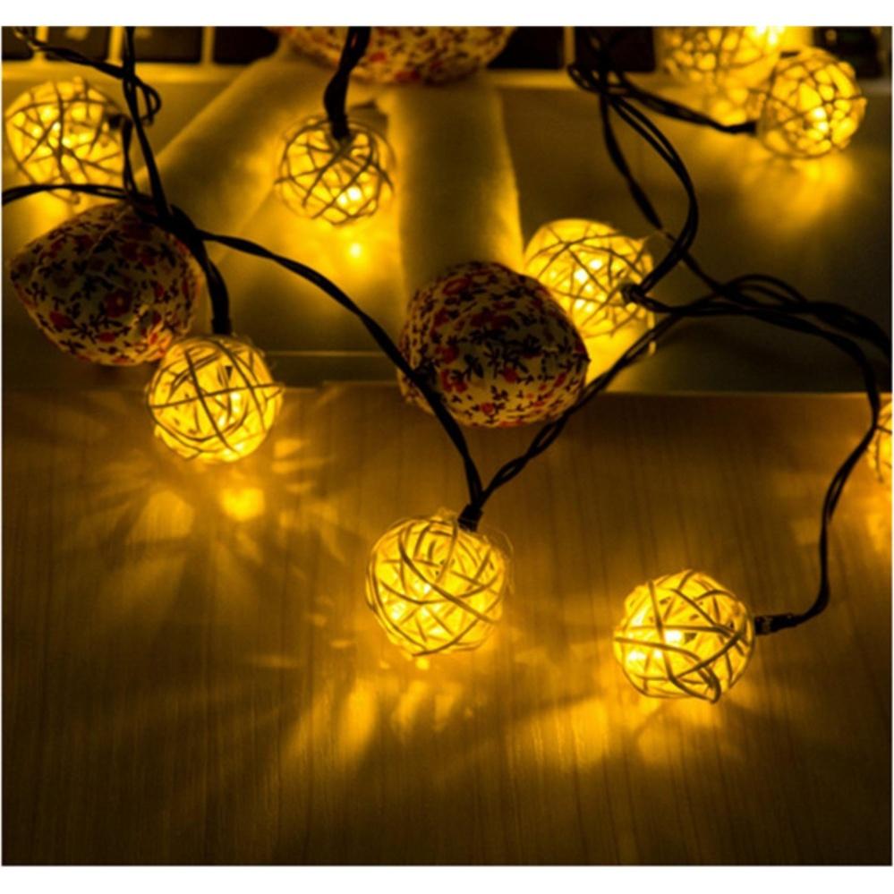 Philippines | 4.8M Solar Powered Rattan Ball LED String Lights, 20 ...