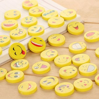 4ever 4pcs/set Kids Funny Cute Smile Face Emoji Erasers Rubber Stationery Office School Supplies - intl