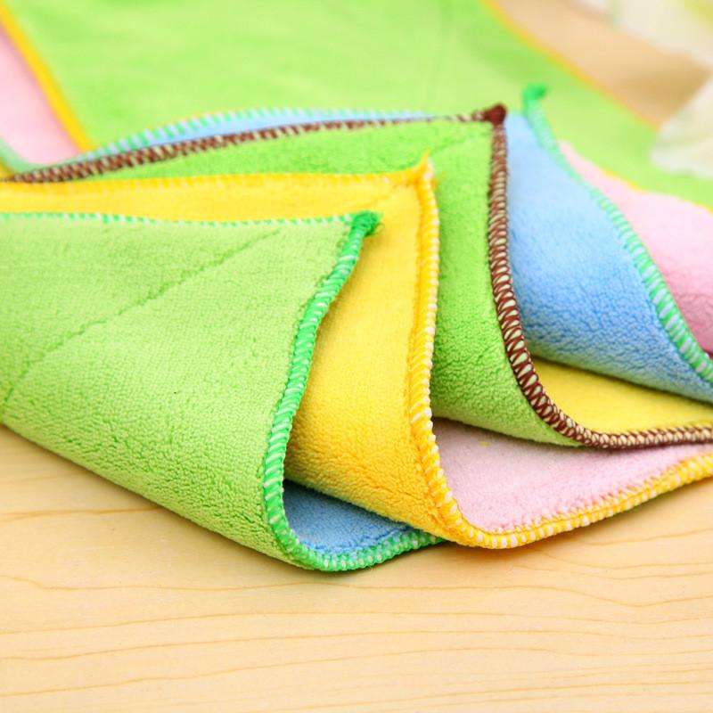 4ever 5pcs Microfiber Fabric Duplex Absorbent Rag Dish Towel Clothfor Kitchen