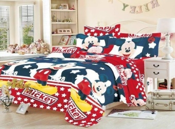 4in1 5D BedSheet Animated Mickey Mouse Design ( 2 pcs Pillow Case ,1 pcs Fittedsheet ,1 pcs Beadsheet )-Queen Price Philippines