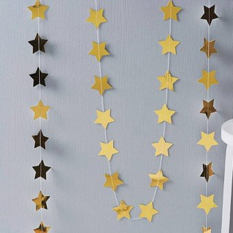 4M Paper Garland Star Shape String Banners Colorful Bunting HangingPaper Birthday Wedding Party Home Decoration - intl