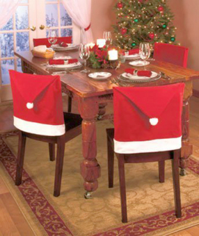 4PCS Christmas House Hat Chair Covers Set Decor