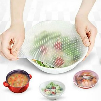 4PCS Reusable Silicone Wraps Seal Cover Stretch Cling Film FoodFresh Keep - Intl