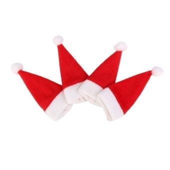 4Pcs Santa Hat Wine Bottle Cover Top Topper Christmas Party Table Decoration - intl