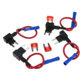 4pcs Universal Add A Circuit Mini Blade Fuse Holder with 10A BladeFuse - Size S (Intl)
