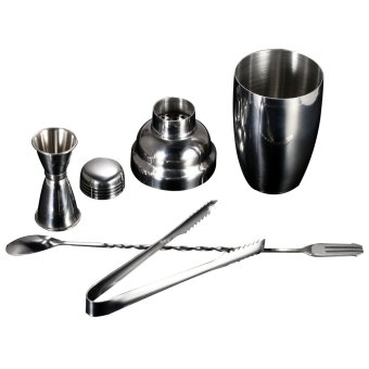 4pcs/set Cocktail Shaker Mixer Set Practical Stainless Steel Wine Tool with Jigger Ice Tong Drink Bartender Kit Bar Accessories - intl