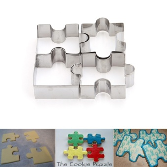 4Pcs/set Cookie Puzzle Shape Stainless Steel Cookie Cutter Set DIYBiscuit Mold Dessert Bakeware Cake Mold - intl