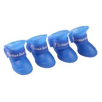 4x Pet Dog Waterproof Boots Rubber Rain Shoes color:Blue size:S -intl - 2