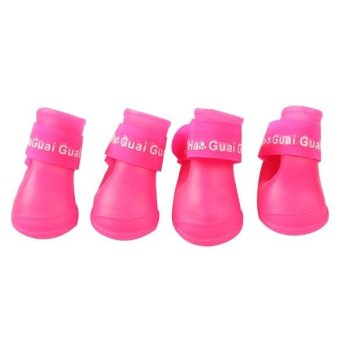 4x Pet Dog Waterproof Boots Rubber Rain Shoes color:Rose-carmine size:L - intl