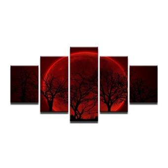 4X6inX2 4X8inX2 4X10inX1 Modular HD Painted Canvas Paintings Art Oil Painting Red moon tree Home D cor Wall Decor pictures for Living Room Poster Atrwork (NO Frame) - intl