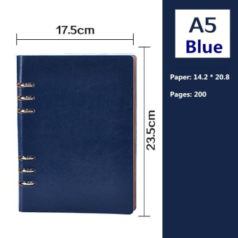 5 Colors Upscale A5 Business Loose-leaf Notebook Leather Surface -intl