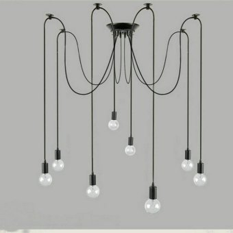 5 Heads pendant lights Creative personality retro home lightingliving room lamp modern lamps for dining room E27 Long chandelierin black - Intl