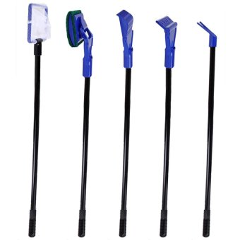 5 in 1 Glass Fish Tank Aquarium Cleaning Tools Cleaner Kit Fish NetGravel Rake Seaweed Scraper Fork Cylinder Brush - intl