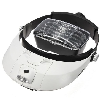 5 Lens: 1.0X 1.5X 2.0X 2.5X 3.5X Headband Magnifier Magnifying Glass Loupe 2 LED - intl