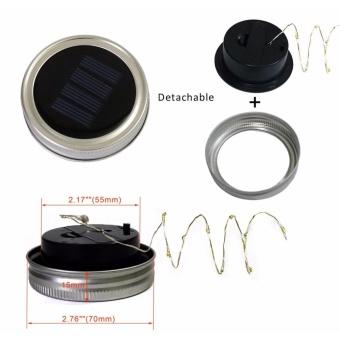 5 Pack Solar Mason Jar Lid,LED Mason Jar String Lights lid,10 LEDsColor Warm White Fairy String Light for Glass MasonJar,Home,Table,Garden Decor - 4