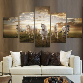 5 Panel Art Pictures Running Horse Large HD Modern Home Wall Decor Abstract Canvas Oil Painting