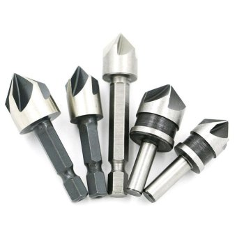 5 Pcs 82 Degree Chamfer Angle HSS 5 Flute Countersink Drill Bit Set Tools - intl
