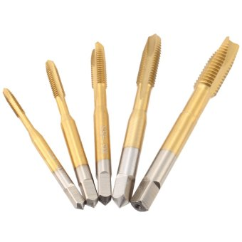 5 Pcs/set M3-M8 High-speed Steel Titanium Coated Straight GrooveTap HSS 6542 Straight Flute Taps Round Shank with Square End SpiralPoint Tap Professional Machine Screw Tap