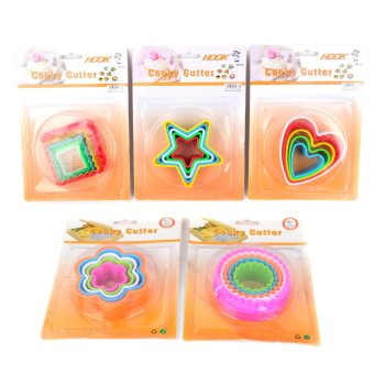 5 Piece Plastic Cookie Cutter Set of 5(Round/Heart/Square/Flower/Star)