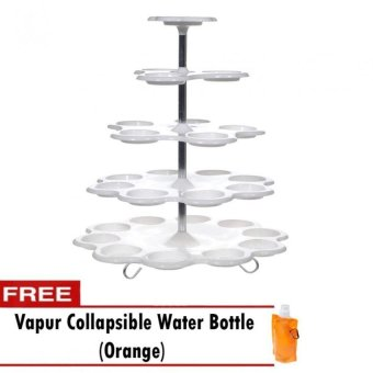 5 Tier Cupcake Stand White with Free Collapsible Water Bottle(Orange)