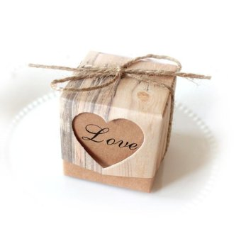 50 Pcs Wedding Favor Love Heart Paper Candy Gift Boxes KraftVintage Ribbon Set - intl