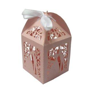 50 Pieces Laser Cut Birdcage Wedding Favor Box (Pink)