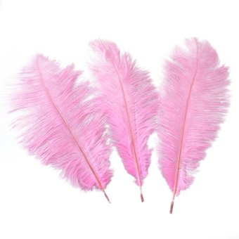 50pcs 30-35cm Artificial Ostrich Feathers Decoration Feathers for Holiday /Party /Dress /Home (Pink)