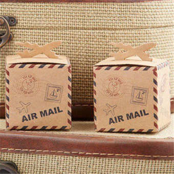 50pcs Airplane Kraft Favor Boxes Air Mail Candy Boxes Party Favors