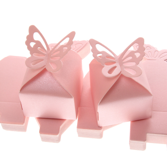 50PCS Butterfly Sweet Candy Gift Boxes Baby Shower Wedding Party Favor Pink - intl