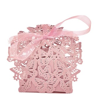50pcs Lovely Butterfly Gift Candy Paper Box Wedding Party FavorPaper Bag Pink - Intl