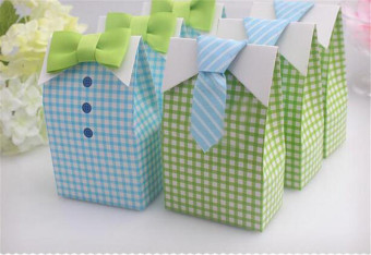 50pcs My Little Man Blue Green Bow Tie Birthday Boy Baby ShowerFavor Candy Box for Wedding favor