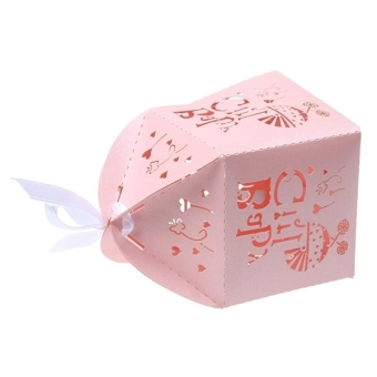 50pcs Paper Candy Sweets Gift Bonboniere Cardboard Boxes Wedding Favors (Pink) - 4