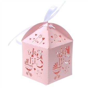 50pcs Paper Candy Sweets Gift Bonboniere Cardboard Boxes Wedding Favors (Pink) - 3