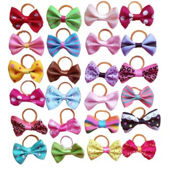 50pcs Pet Dog Hair Bows Accessories With Rubber Bands